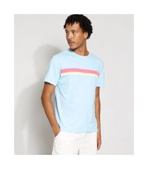 camiseta masculina manga curta com listras gola careca azul claro