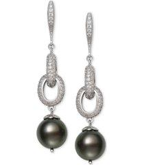 belle de mer cultured black tahitian pearl (10mm) & cubic zirconia linear drop earrings in sterling silver