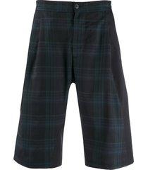 stephan schneider checked knee-high shorts - blue