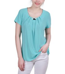 ny collection petite embellished pleated top