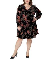 maree pour toi plus size printed velvet dress