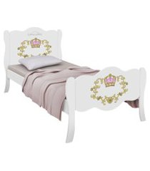 cama solteiro princesa charlotte adesivada branca casah