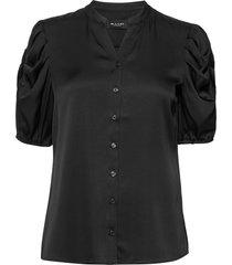 satin stretch - naolin blouses short-sleeved zwart sand