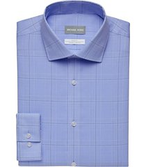 michael kors men's blue windowpane plaid slim fit stretch dress shirt - size: 20 38/39