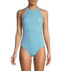 palm party striped one-piece swimsuit