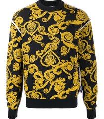 versace jeans couture baroque print sweatshirt - black