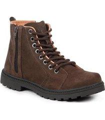bota coturno masculina couro zíper cano médio leve conforto - masculino