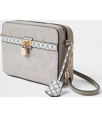 river island womens grey ri monogram padlock boxy crossbody bag