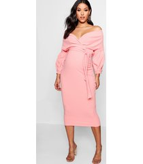 maternity off the shoulder wrap midi dress, coral blush