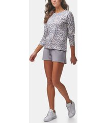 marc new york performance women's long sleeve printed french terry pullover