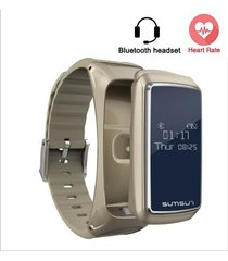 smartwatch, pulsera inteligente con audifonos bluetooth -oro