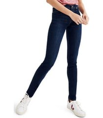 petite women's madewell 9-inch high rise skinny jeans, size 30 - blue