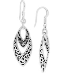 lois hill scroll work & filigree marquise drop earrings in sterling silver