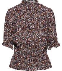 camila drapey print blouses short-sleeved multi/mönstrad arnie says