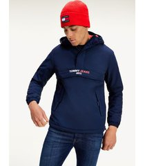 tommy hilfiger men's recycled nylon popover jacket twilight navy - l