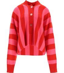 the attico oversized sweater in striped merino wool