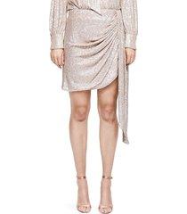 jonathan simkhai women's sequin drape front mini skirt - champagne - size 4