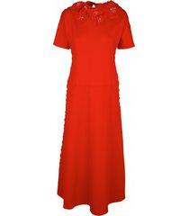 sukienka z aplikacjami i perłami w kolorze czerwonym