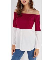 burgundy & white off shoulder long sleeves t-shirt