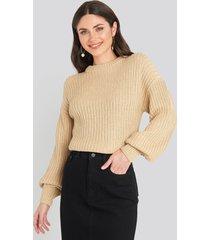 na-kd balloon sleeve round neck sweater - beige