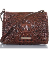 brahmin lorelei croc embossed leather shoulder bag - brown
