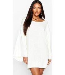 oversized trui jurk met wijde mouwen, crème