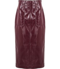 philosophy di lorenzo serafini bordeaux faux patent leather longuette skirt