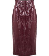 philosophy di lorenzo serafini bordeaux faux patent leather longuette skirt