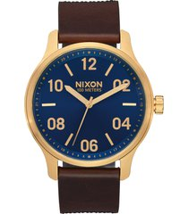 men's nixon patrol leather strap watch, 42mm