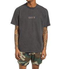 men's obey bold ideals logo organic cotton t-shirt, size small - black