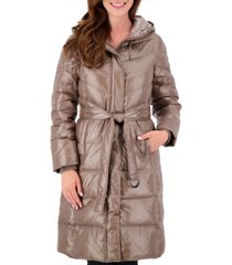 vince camuto high-shine belted puffer coat
