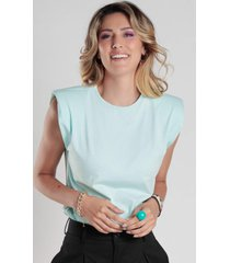 t-shirt bl0001 muscle tee com ombreira traymon verde mint - verde - feminino - algodã£o - dafiti