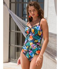 miami brights tropical padded underwire one-piece swimsuit