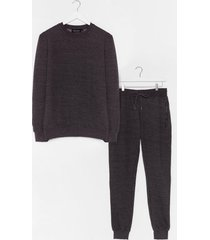 womens the real you sweater and joggers lounge set - charcoal