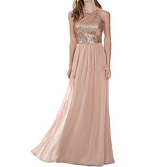 fm sleeveless lace chiffon bridesmaid dresses prom party gown rose gold us 26plu