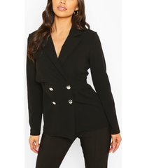 double breasted cinched in waist blazer, black