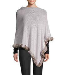embellished dyed rabbit-fur trimmed poncho