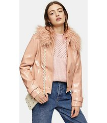 peach faux fur collar crop pu coat - peach