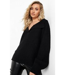 oversized trui met kraag, black