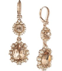 marchesa crystal & imitation pearl cluster double drop earrings