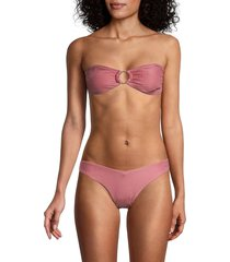 onia women's luna striped ring bikini top - dusty rose - size xl