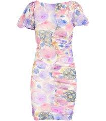 ganni printed mesh printed pencil round neck s/s dress