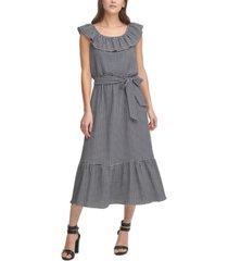 dkny tiered midi dress