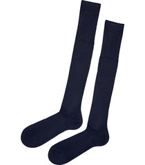 calzedonia - tall ribbed egyptian cotton socks, 44-45, blue, men