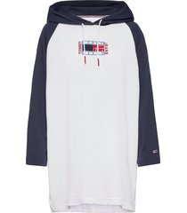 tjw timeless flag hoodie dress dresses t-shirt dresses wit tommy jeans