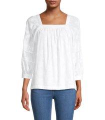calvin klein women's elbow-length squareneck blouse - soft white - size xs
