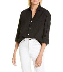 frank & eileen eileen cotton poplin shirt, size large in black light poplin at nordstrom