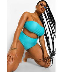 plus mix & match strapless bikini top, aqua