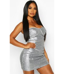 glitter sequin bustier mini dress, charcoal