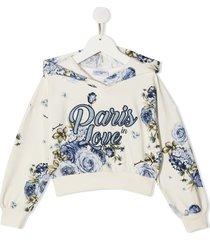 monnalisa paris love floral-print hoodie - neutrals